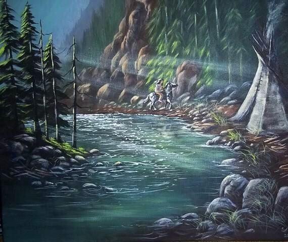 Blackfoot River, original painting, free shipping