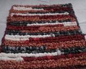 """Homepun Kitchen Pot Holder, Rustic Fabric Trivet,  7"""" x 7"""" Square Table Mat"""