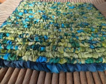 "A Tropical 7.5"" x 7.5""  Pot Holder / Trivet, Ocean Blue's And Green's Batik Fabric, Beachy Decor, Gift Giving, Holiday's"