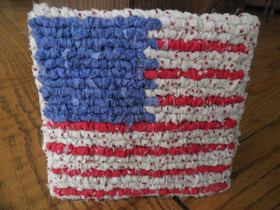 Americana Pot Holder 6x6 Inch Red White And Blue Flag Decorative Table Peice Labor Day Celebration