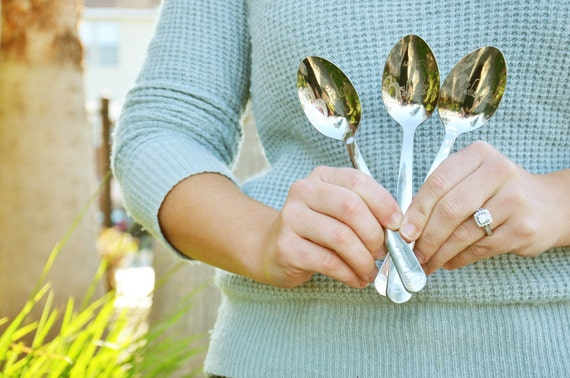 3 Hand Engraved Will you be my Bridesmaid spoon useable- WITH PERSONALIZATION and RIBBON
