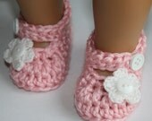 Baby Girl Crochet Pink White Sparkly Flower Mary Janes Baby Janes Shoes Booties Photo Prop Shower Gift Easter Spring