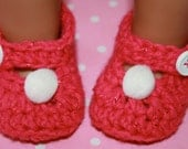 Baby girl hot pink shimmer sparkly crochet mary janes booties shoes pom poms size newborn 0-3 mon 3-6 mon
