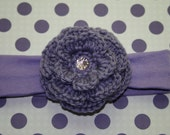 Ready to ship purple girl hair flower headband alligator clip clip clippie baby girl infant newborn toddler gift