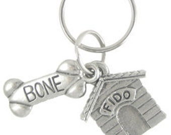Dog House and Bone Keychain