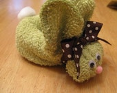 Kiwi green boo boo bunny with brown polka dot bow