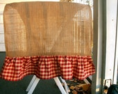 Burlap Ruffled Table Runner with  Red or Green Check Ruffle