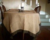 "Large Natural Burlap Tablecloth with Brown Ruffle 108""x66"""