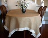 "Burlap Tablecloth with Muslin Ruffle 108""X66"""