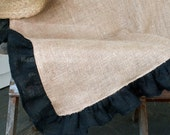 "108""x66"" Natural Burlap Square Tablecloth with Black Ruffle"