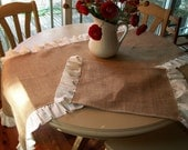Burlap Table runner with 4  Matching Placemats, Torn Linen Ruffles