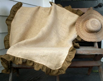 "45"" Square Natural Burlap Tablecloth with Brown Burlap Ruffle"