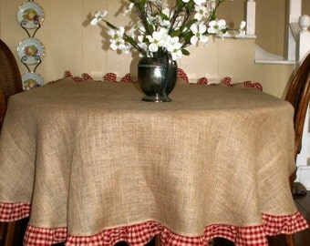 "78"" Round Summer Fun  Natural Burlap Round Tablecloth with Red Checked Ruffle"