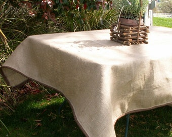 "60"" Natural Burlap SquareTablecloth  with Brown Cording"