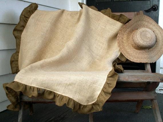 "45"" Square Natural Burlap Tablecloth with Brown Burlap Ruffle"