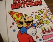 Vintage Nintendo 1989 Mario Brothers Birthday Greeting Card NES