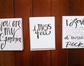 "Handwritten ""Love"" themed Notecards"
