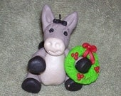 Donkey Christmas ornament with wreath,Polymer clay