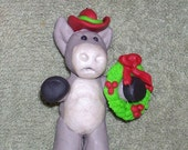 Cowboy Donkey Christmas ornament with wreath