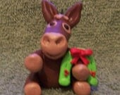 Mule Christmas tree ornament (polymer clay) with horsehoe wreath