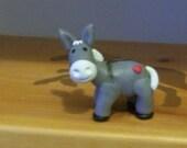Donkey with heart (polymer clay) handmade