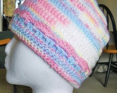 Handmade Crocheted Toddler Hat in Pink, Blue, and White