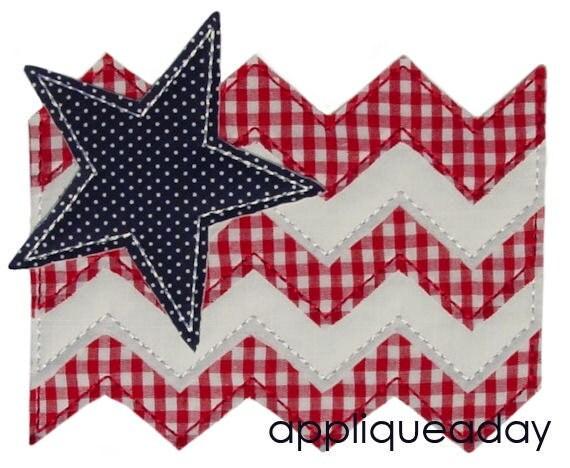 Raggy Chevron Flag & Star Applique Design (Machine Applique Embroidery Design) Instant Digital Download by Applique a Day 4x4 5x7 6x10