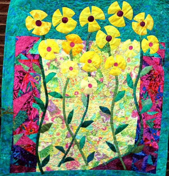 CUSTOM Wall Art Quilt of Appliqued Flowers and Crazy Quilting Background