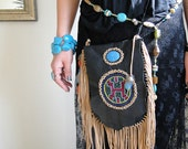 Native American, pouch, handmade, boho, black, leather, ethnographic