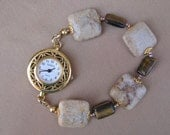 Coral Fossil and Tigereye Interchangeable Watch Bracelet
