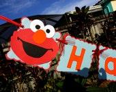 Adorable Happy Birthday Banner - Sesame Street Elmo Collection - Red, Orange, and Aqua