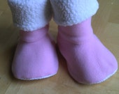 Baby, toddler, children's fleece slipper socks with no-slip soles, soft pink and white, double layered & reversible