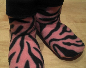 Adult or Youth fleece slipper socks, pink and black tiger stripe pattern, double layered & reversible