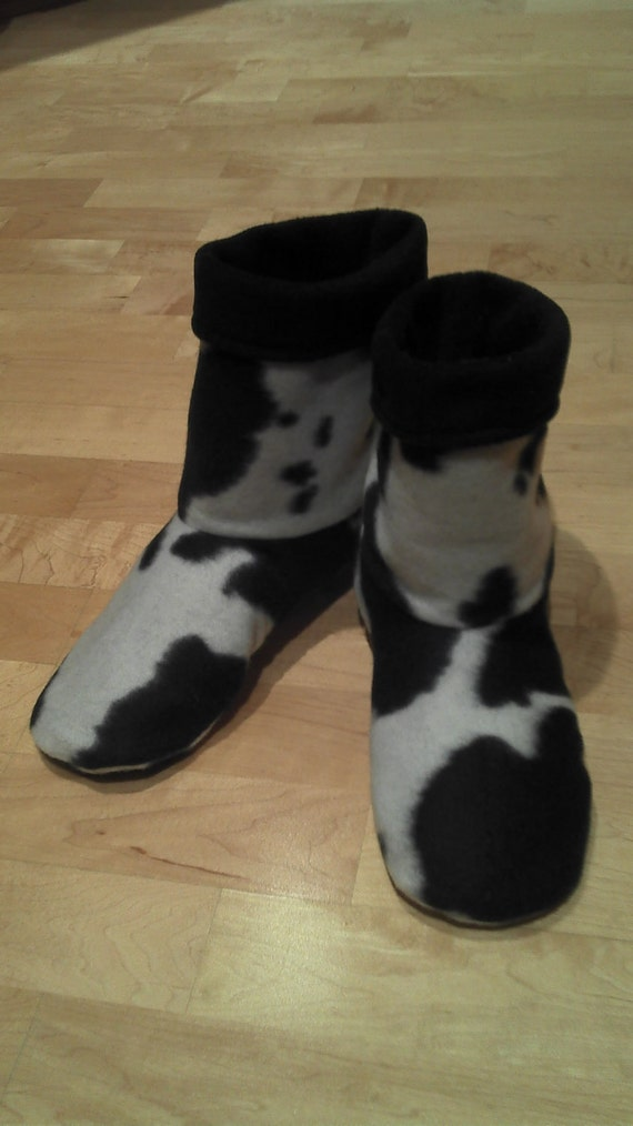 Adult or Youth fleece slipper socks, cow print and black, double layered & reversible