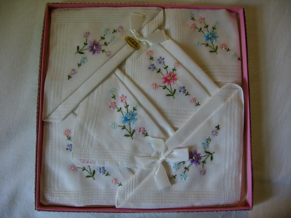 Vintage Hankies Boxed Set Of Six Irish Linen Floral