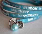"Humanity Freedom ""Serenity Prayer"" Leather Paw Print Charm Bracelet"