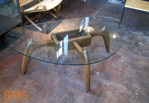 Kidney-shaped mid-century modern glass table