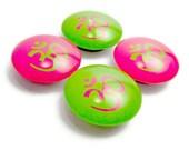 Om Magnet Glass Fridge Magnet Set of 4 Hot Pink and Green