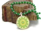 Heart Chakra Pendant Necklace Green Aventurine Necklace Anahata Mandala Silver Plated Pendant