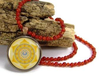 Sacral Chakra Beaded Necklace Swadhisthana Mandala Antique Copper Pendant Necklace