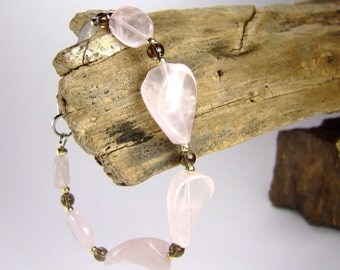 Pink Gemstone Bracelet, Rose Quartz Bracelet, Heart Chakra Bracelet
