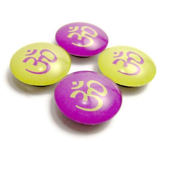 Om Magnet Glass Fridge Magnet Set of 4 Purple and Lime Green