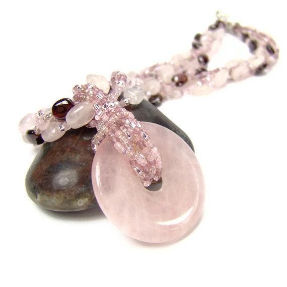 Rose Quartz Gemstone Heart Chakra Patience Necklace