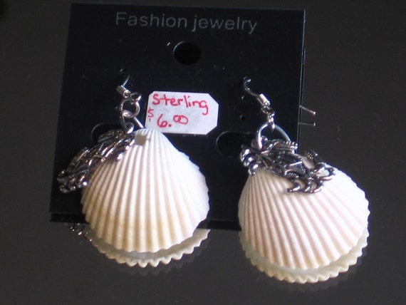 Sterling Shell Crab Earrings. Sterling Silver Ear wire earrings with real Sea Shells and Silver Crab or lobster charms