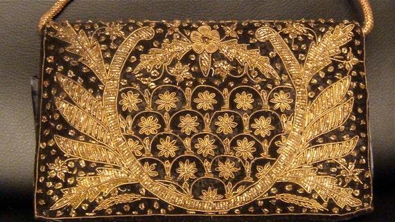 RESERVED etsytootsie Gold Metallic Beaded Embroidered Velvet Clutch