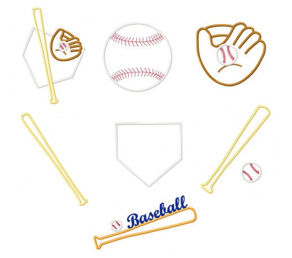 Instant Download - Baseball Embroidery Applique Designs - Pack of 7 Baseball digitized embroidery applique design 4x4, 5x7, 6x10 hoops