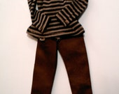 Barbie Day at Work Outfit - Brown Tailored Trousers with Turtle Neck Striped Top  (Listing for Vicki)