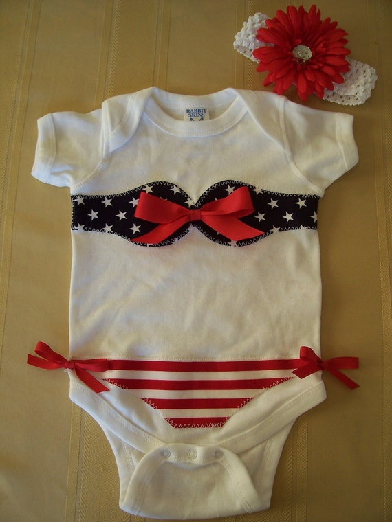 Patriotic 4th of July  Bikini Onesie Flower Hair Clip and Headband Outfit Size 6, 12 , 18  or 24 months