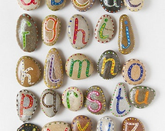 Alphabet Pebbles for Kids, Learning Funny ABC, Cheap Gift Ideas, Sea Stones, Educational Toys, Painted Beach Pebbles by Happy Emotions