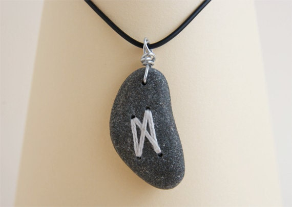 Beach Pebble Necklace, Zen, Unisex Hipster Jewelry, Sea Stone, OOAK  by HappyEmotions, Rocks